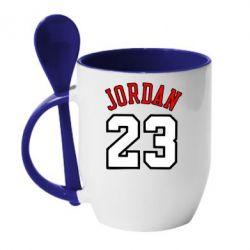 Кружка с керамической ложкой Jordan 23 - FatLine