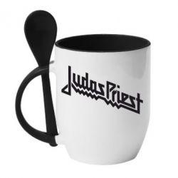 Кружка с керамической ложкой Judas Priest Logo - FatLine