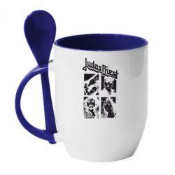 Кружка с керамической ложкой Judas Priest - FatLine