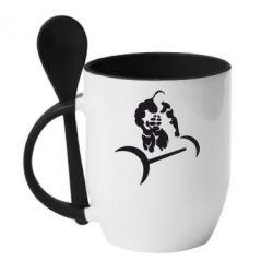 Кружка с керамической ложкой Качек и штанга - FatLine