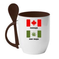 Кружка с керамической ложкой Канада Как надо - FatLine