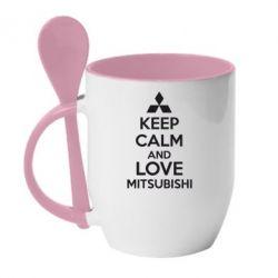 Кружка с керамической ложкой Keep calm an love mitsubishi - FatLine