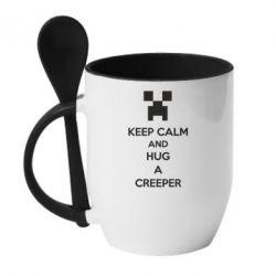 Кружка с керамической ложкой KEEP CALM and HUG A CREEPER - FatLine