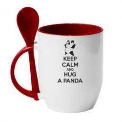 Кружка с керамической ложкой KEEP CALM and HUG A PANDA - FatLine