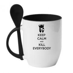 Кружка с керамической ложкой KEEP CALM and KILL EVERYBODY - FatLine