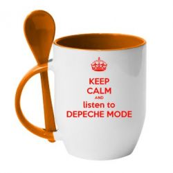 Кружка с керамической ложкой KEEP CALM and LISTEN to DEPECHE MODE