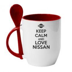 Кружка с керамической ложкой Keep calm and love Nissan - FatLine