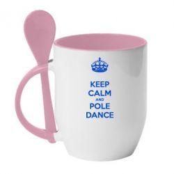 Кружка з керамічною ложкою KEEP CALM and pole dance