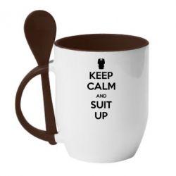 Кружка с керамической ложкой Keep Calm and suit up!