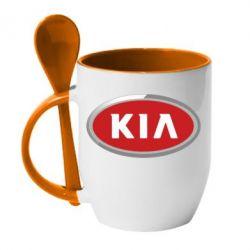 Кружка с керамической ложкой KIA Logo 3D - FatLine