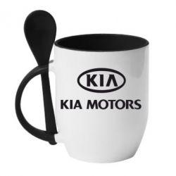 Кружка с керамической ложкой Kia Logo - FatLine