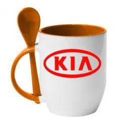 Кружка с керамической ложкой KIA Small - FatLine