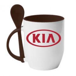 Кружка с керамической ложкой KIA - FatLine