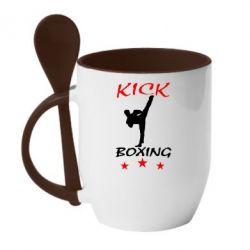 Кружка с керамической ложкой Kickboxing Fight - FatLine