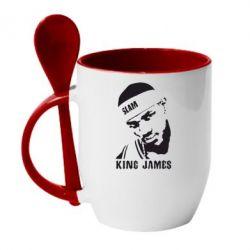 Кружка с керамической ложкой King James - FatLine
