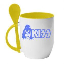 Кружка с керамической ложкой Kiss Album - FatLine