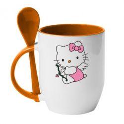 Кружка с керамической ложкой Kitty амурчик - FatLine