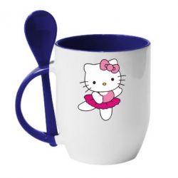 Кружка з керамічною ложкою Kitty балярина - FatLine