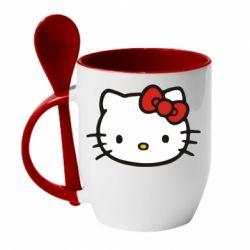 Кружка с керамической ложкой Kitty - FatLine