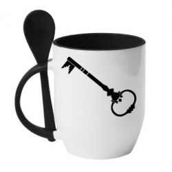 Кружка с керамической ложкой Ключ к сердцу - FatLine