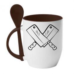 Кружка с керамической ложкой Knives - FatLine