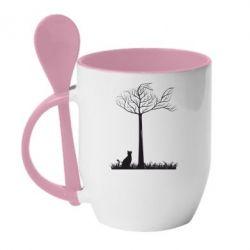 Кружка с керамической ложкой Кот прыгает на дерево - FatLine