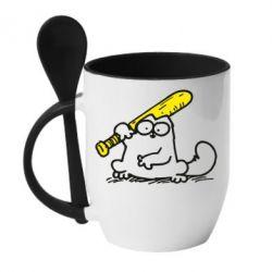 Кружка с керамической ложкой Кот Саймона с битой - FatLine
