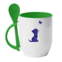 Кружка с керамической ложкой котик и бабочка - FatLine