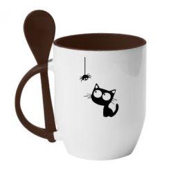 Кружка с керамической ложкой Котик и паук - FatLine