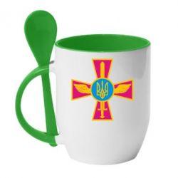Кружка с керамической ложкой Крест з мечем та гербом - FatLine