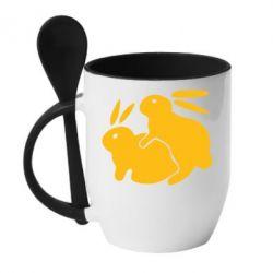 Кружка с керамической ложкой Кролики - FatLine