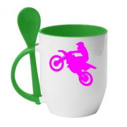 Кружка с керамической ложкой Кроссовый мотоцикл