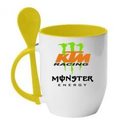 Кружка с керамической ложкой KTM Monster Enegry - FatLine
