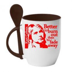 Кружка с керамической ложкой Kurt Cobain - FatLine