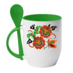 Кружка с керамической ложкой Квіти України