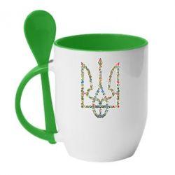 Кружка с керамической ложкой Квітучий герб України - FatLine