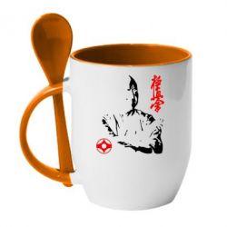 Кружка с керамической ложкой Kyokushin Kanku logo - FatLine