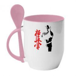 Кружка с керамической ложкой Kyokushin Kanku Master - FatLine