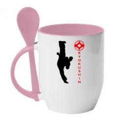 Кружка с керамической ложкой Kyokushin Kick - FatLine