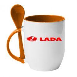 Кружка с керамической ложкой Lada