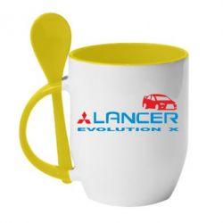 Кружка с керамической ложкой Lancer Evolution X - FatLine