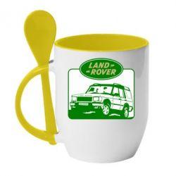 Кружка с керамической ложкой Land Rover - FatLine