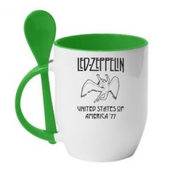 Кружка с керамической ложкой Led Zeppelin United States of America 77 - FatLine