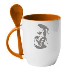 Кружка с керамической ложкой Лице козака - FatLine
