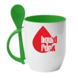 Кружка с керамической ложкой Liquid funk