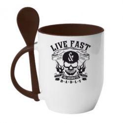 Кружка с керамической ложкой Live Fast and No Regrets Badly - FatLine