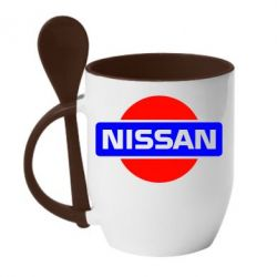 Кружка с керамической ложкой Logo Nissan - FatLine