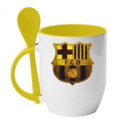 Кружка с керамической ложкой Логотип Барселоны - FatLine