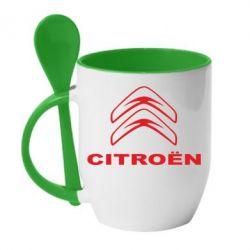 Кружка з керамічною ложкою Логотип Citroen - FatLine