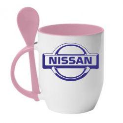 Кружка с керамической ложкой логотип Nissan - FatLine